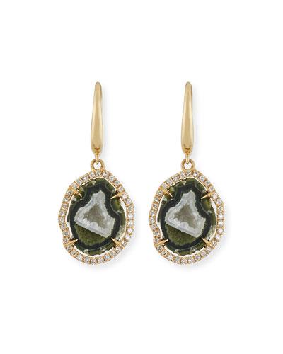 Natural Druzy Agate & Diamond Drop Earrings