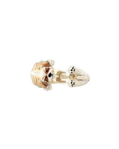 Shih Tzu Enameled Dog Hug Ring, Size 7