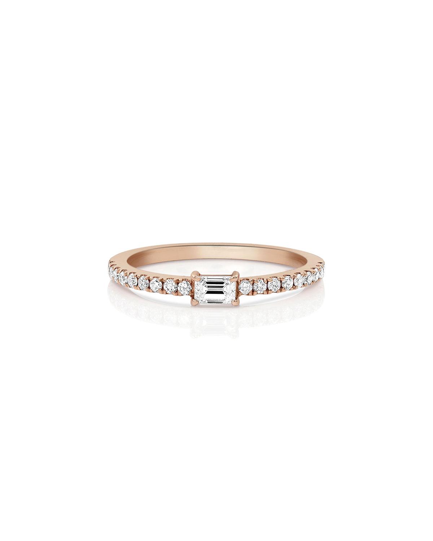 18k Rose Gold Single Baguette Diamond Stacking Ring