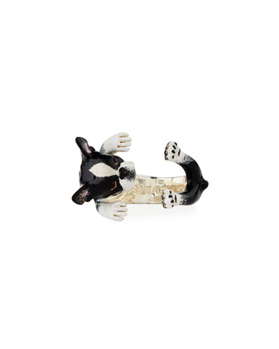 Boston Terrier Enameled Dog Hug Ring, Size 6