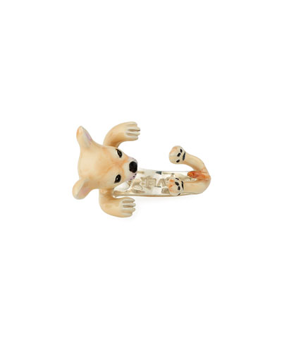 Chihuahua Enameled Dog Hug Ring, Size 8