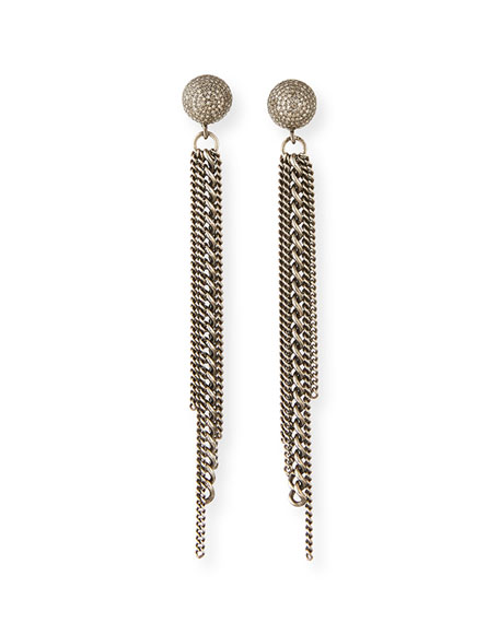 Sheryl Lowe Diamond Dome Stud Chain Earrings