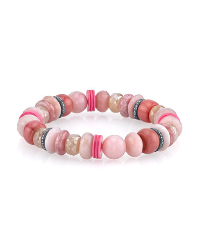 Beaded Bracelet with Diamond & Vinyl Rondelles, Pink