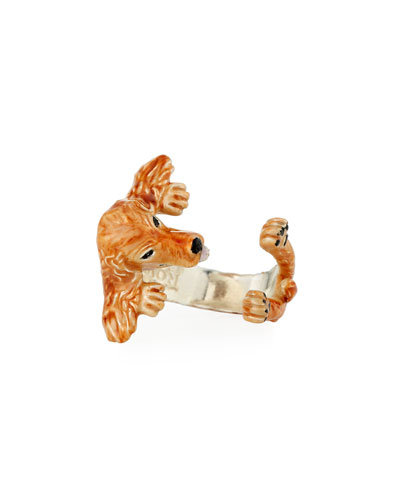 Cocker Spaniel Enameled Dog Hug Ring, Size 7