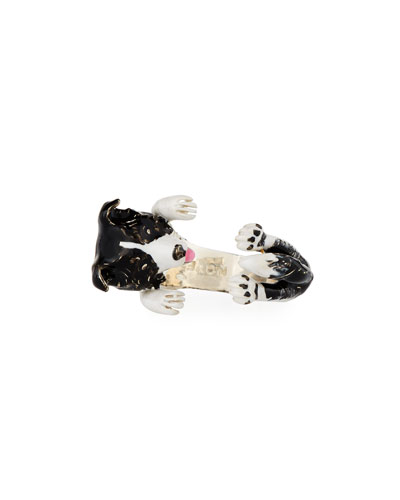 Border Collie Enameled Dog Hug Ring, Size 8