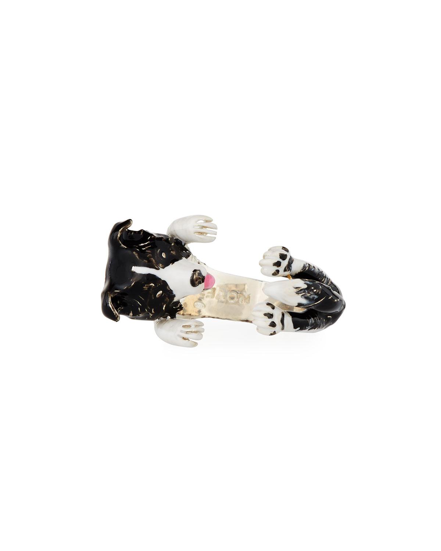 DOG FEVER BORDER COLLIE ENAMELED DOG HUG RING, SIZE 8