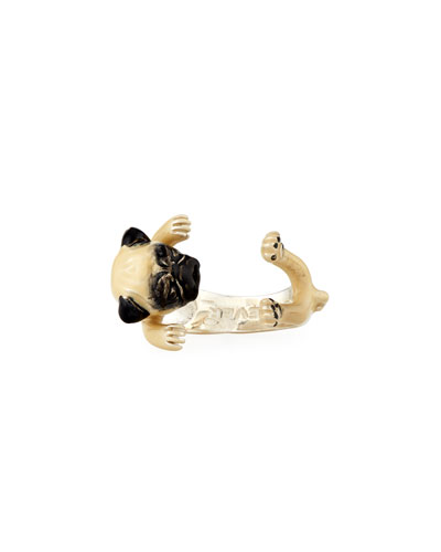 Pug Enameled Dog Hug Ring, Size 7