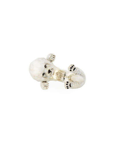 Bichon Frise Enameled Dog Hug Ring, Size 7
