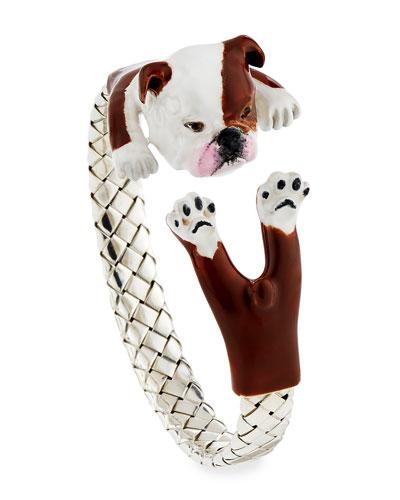English Bulldog Enameled Dog Hug Bracelet