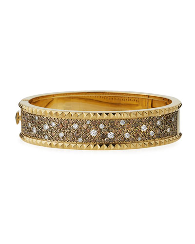 Rock & Diamond Medium Bangle in 18K Yellow Gold, 3.81 tdcw