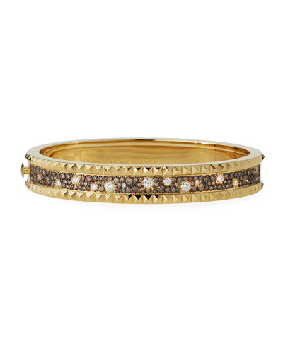 ROBERTO COIN ROCK & DIAMONDS Small Bangle in 18K Yellow Gold, 1.49 tdcw