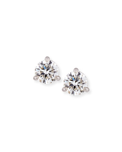 Memoire 18k White Gold Martini Diamond Stud Earrings, 0.88tcw