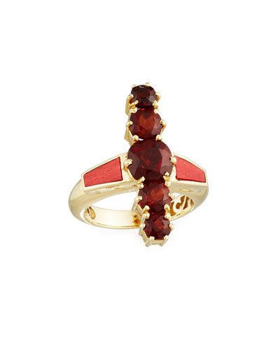 Marquetry Red Wood & Citrine Ring