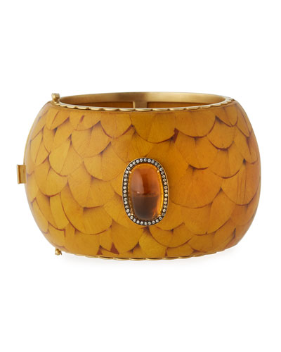 Marquetry Cuff Bracelet with Brown Diamonds & Citrine
