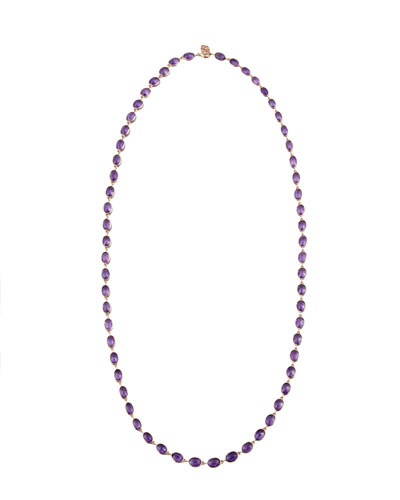 Amethyst Station Necklace in 18K Rose Gold, 36