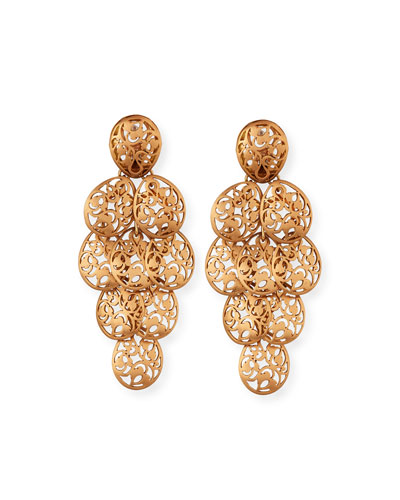 18k Rose Gold Arabesque Chandelier Earrings