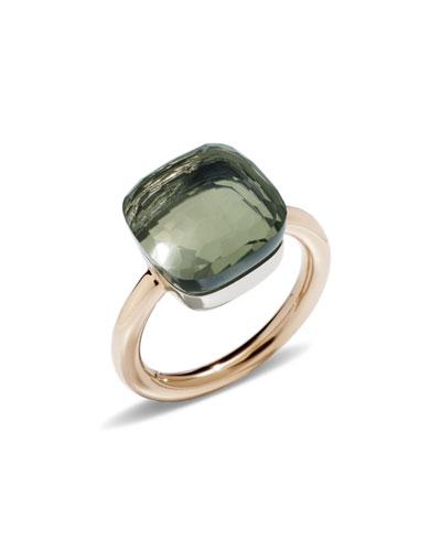 Nudo Rose Gold & Prasiolite Grande Ring, Size 53