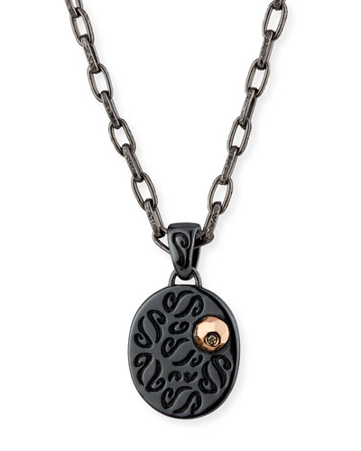Ara Burnished Silver Pendant Necklace with 18K Rose Gold & Champagne Diamond