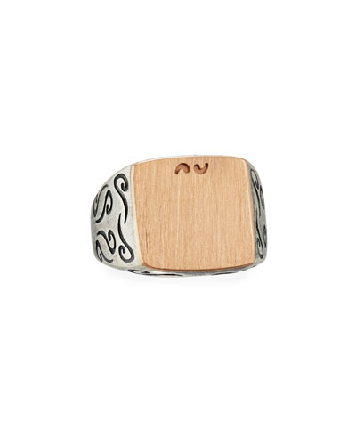 Ara Large Square Oxidized Silver & 18K Rose Gold Ring, Size 10