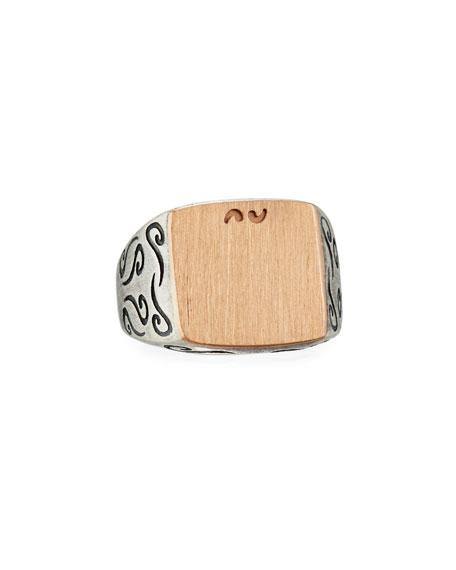 Marco Dal Maso Ara Large Square Oxidized Silver & 18K Rose Gold Ring, Size 10