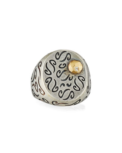 Ara Carved Signet Ring with 18K Gold & Diamond Detail, Size 9.5 ...