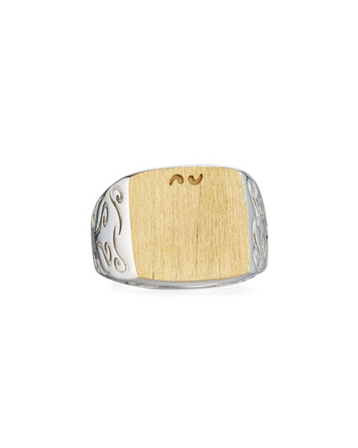 MARCO TA MOKO Two-Tone Silver & 18K Gold Ring, Size 10