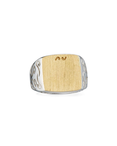 Marco Dal Maso Two-Tone Silver & 18K Gold Ring, Size 10