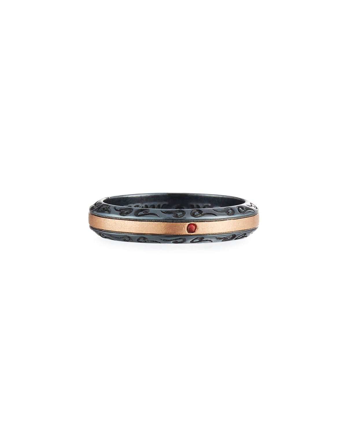 Ara Burnished Silver & 18K Rose Gold Band Ring with Red Sapphire