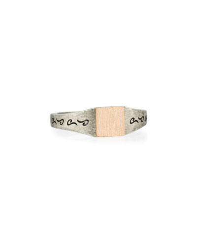 Ara Silver & Rose Gold Square Ring, Size 10