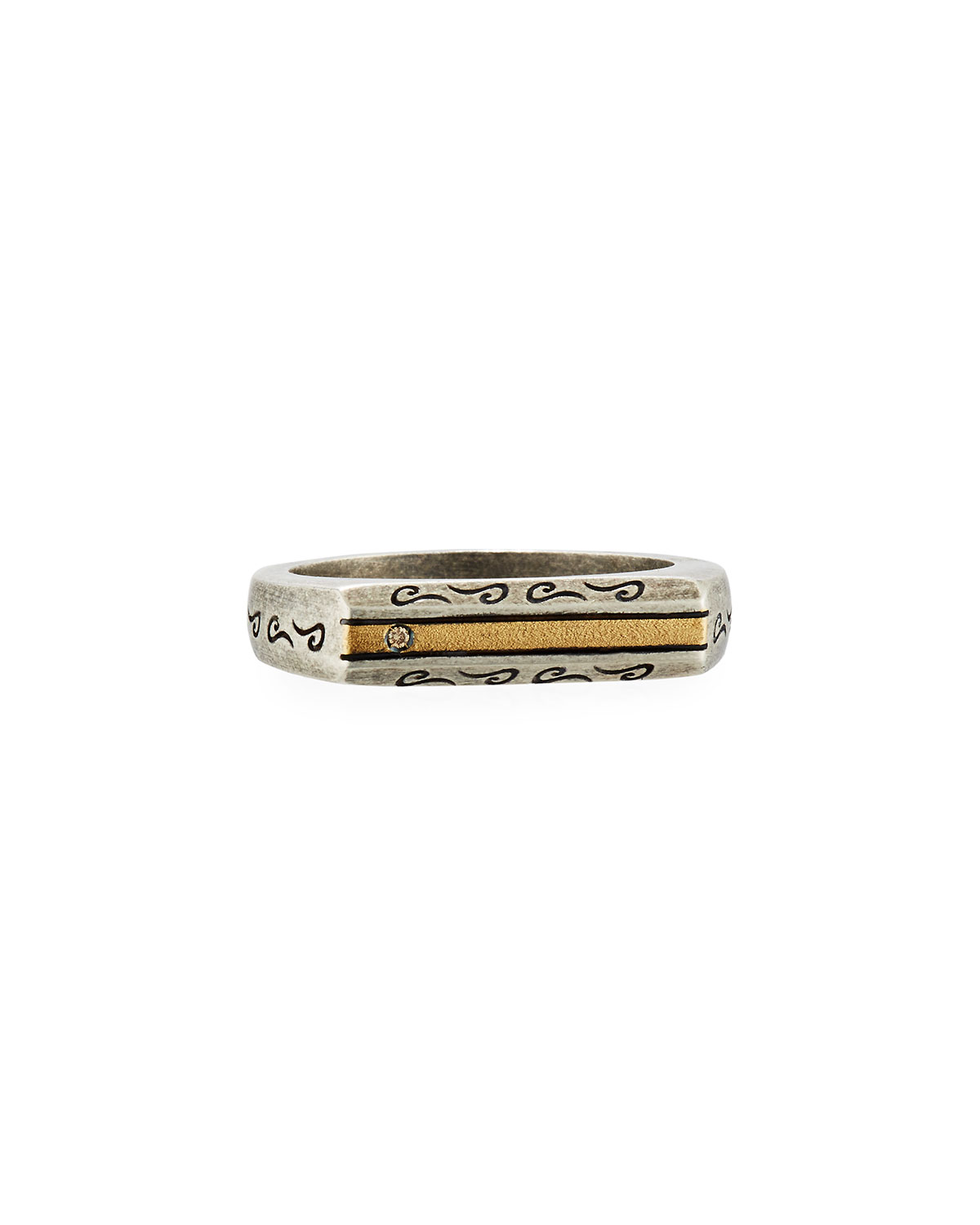 MARCO DAL MASO Ara Oxidized Silver & 18K Ring With Champagne Diamond, Size 10