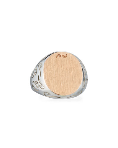 Ara Silver & Rose Gold Signet Ring, Size 10