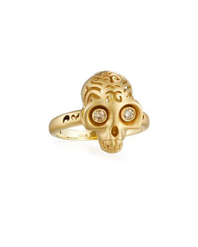 Maki 18K Gold Skull Ring with Champagne Diamonds, Size 10.5