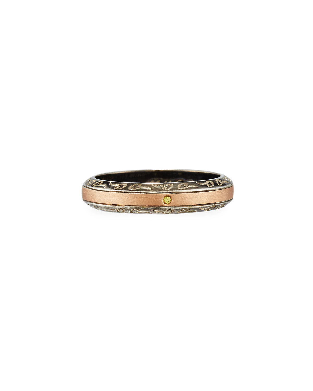 Ara 18K Rose Gold & Burnished Silver Band Ring