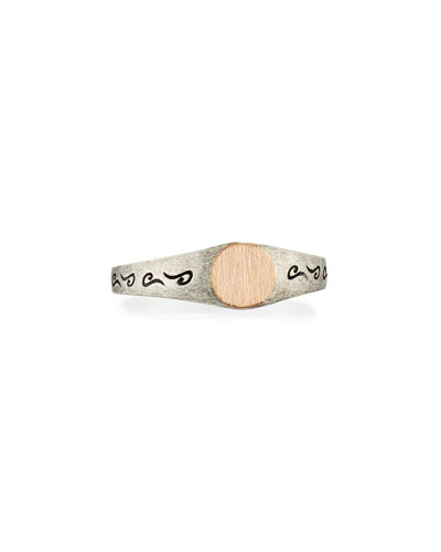 Marco Dal Maso Ara Large Square Oxidized Silver & 18K Rose Gold Ring, Size 10