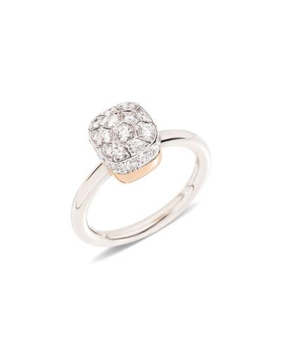Nudo Rhodium-Plated Diamond Ring, Size 53