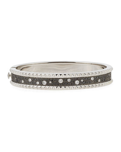 Rock & Diamond Small 18K White Gold Bangle Bracelet