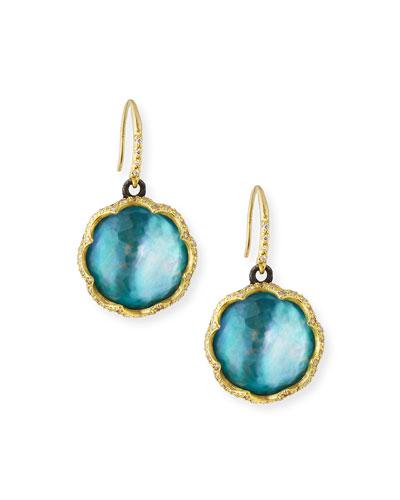 Old World 18k Scalloped Peruvian Opal Triplet Drop Earrings w/ Diamonds