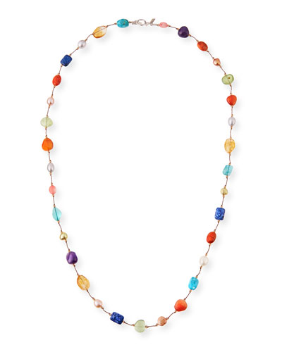 Small Pearl & Swarovski Crystal Station Necklace, 35