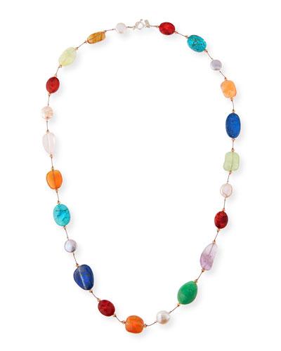 Margo Morrison Long Silver Lapis Station Necklace, 35