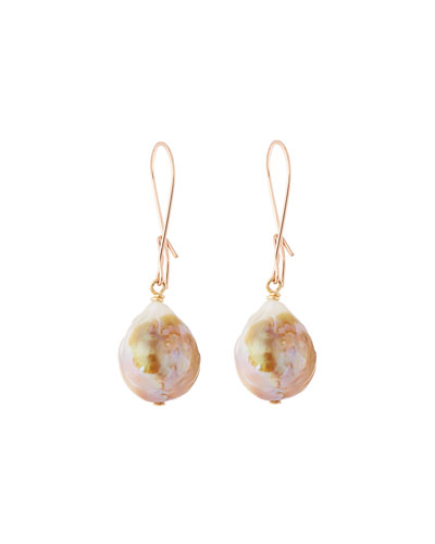 Baroque Pearl Drop Earrings in 14K Rose Gold