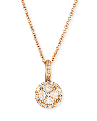 Mosaic Round Diamond Pendant Necklace in 18K Rose Gold