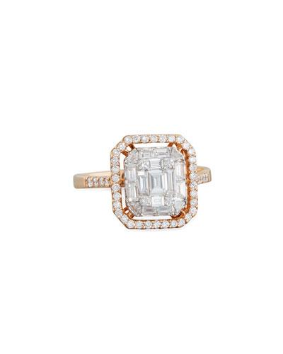Mosaic Octagonal Diamond Ring in 18K Rose Gold