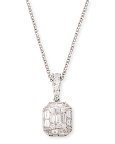 Mosaic Emerald-Shaped Diamond Pendant Necklace