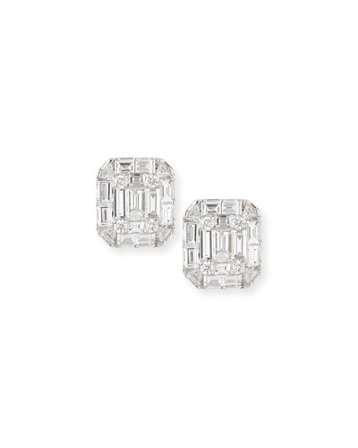 Mosaic Emerald-Shaped Diamond Stud Earrings