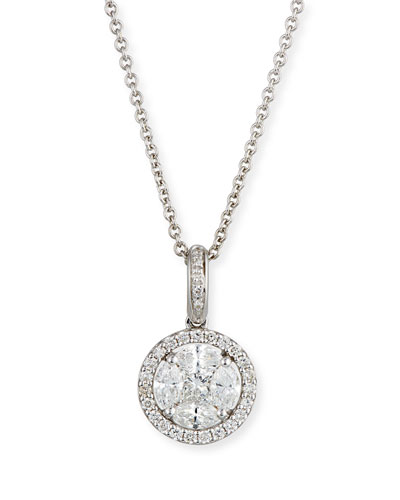 Mosaic Round Diamond Pendant Necklace in 18K White Gold