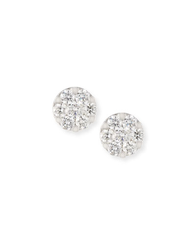 Mosaic Round Diamond Flower Stud Earrings 18K White Gold