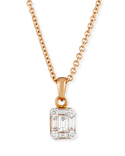 Mosaic Diamond Pendant Necklace in 18K Rose Gold