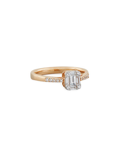Mosaic Fancy-Cut Diamond Ring in 18K Rose Gold