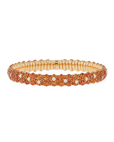 Stretch Orange Sapphire & Diamond Bracelet