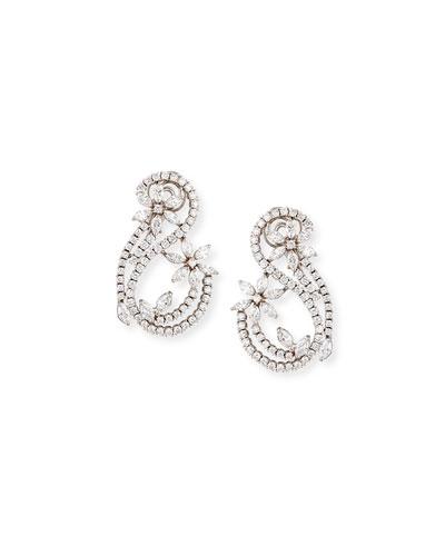 Luminal Diamond Earrings in 18K White Gold